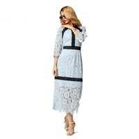 Wholesale Embroidery Womens Evening Gown - Womens Long Sleeve Floral Lace Casual Pencil Dress Evening Party Ball Gown Straight Swing A Line Shirt Dress