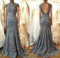 Wholesale Grey Open Back Prom Dress - Sexy Grey Lace Mermaid Evening Dress 2017 Robe De Soiree High Neck Open Back Formal Evening Gowns For Party Prom Dresses