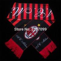 Wholesale Wholesale Football Scarves - Wholesale- New Italy soccer club badge souvenir football scarf  football teams fans gift AC Milan soccer Scarf
