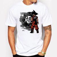 Wholesale Super Hipster Men - Men's Clothing Super Saiyan Son Goku Printing T Shirt Men Japan Anime Dragon Ball Z t-shirt Together they fight Hipster tee shirt homme