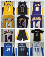 Wholesale Young 14 - Mens #14 Brandon Ingram Jersey 0 Nick Young Jersey Cheap Basketball Jerseys Purple White Black Yellow High Quality Stitched Logos