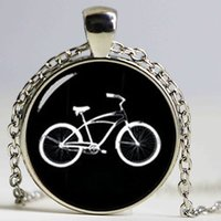 Wholesale China Wholesale Bikes - Retro black white bike necklace personalized men accessories 2017 minimalist style casual sports bicycle pendant jewelry