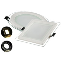 cuadrado led panel luz de vidrio al por mayor-Envío Gratis Panel de Cristal Regulable Led Lighs 9 W 18 W 25 W Led Panel de Luz Redonda Square Shell Glass Led Downlights IP44 AC 110-240 V