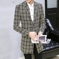 Wholesale Slim Suit Small Men - The 2016 men's lattice Small lattice printing wool suit special offer thick section youth business casual suit jacket British slim coat
