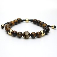 Wholesale Macrame Balls - Wholesale- Gold Plated Male Black CZ Ball Macrame Charm Bracelet Tiger Eye Stone Bead Bracelets For Men Women Pulseira Masculina G-10