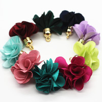 diy troddelschmuck großhandel-100pcs mischte Farbe Blumen-Quaste 27mm Quasten für Schmucksache-Diy-Zellen-Ohrring-Halsketten-Charme-Handy-Bügel-Zusätze. 100 Stück