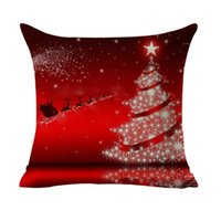 Wholesale Christmas Decorative Throw Pillows - Christmas Sofa Cushion Cover Decoration Square Pillowcase Printed Tree Ornament Gift Home Decor Linen Cover Throw Pillow Case Decorative Car