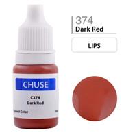 tinta de maquillaje permanente rojo al por mayor-Al por mayor- CHUSE Tinta de maquillaje permanente Labios Tinta de tatuaje Set Microblading Pigmento Profesional Micro Maquiagem Definitiva 10ML Rojo oscuro C374
