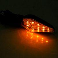luzes de bicicleta sinal de volta venda por atacado-INDICADOR ÂMBAR LUZ LÂMPADA 12LED Motocicleta Turn Signal Luz UNIVERSAL MOTOCICLETA PRETO BICICLETA SINAL
