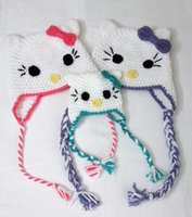 Bonnet cat Prix-Crochet Animal Cat Hat Enfants Nouveau-né Enfant enfant en tricot Hat Winter Girl Kitty Bonnet Earflap Kids Hallowmas Casquette de Noël 100% Coton