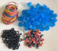 Wholesale Wholesale Rubber Grommets - Wholesale-Tattoo Accessories Rubber Grommet + O-Ring + Tattoo Grommets+ Tattoo ink cups 80pcs 11mm Blue in Tattoo supply free shipping