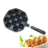 Wholesale 12 Holes Takoyaki Grill Pan Plate Mold Octopus Ball Maker With Handle Kitchen Cooking Baking Decorating Tools Accessories