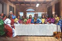 ingrosso mani libere africane-Ultima cena afroamericana nera incorniciata Gesù Cristo Arte, dipinto ad olio dipinto a mano sulla tela di canapa di qualità multi formato che spedice liberamente Fm002