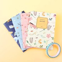 Barato Bonito Livro De Escola-4PCS / Set Kawaii Cute Flowers Birds Animal Notebook Pintura do diário Book Journal Record Office School Supplies