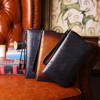 Wholesale Vegetable Tanning - wholesale love letter Vegetable tanning leather hand colored Vintage zip long wallets clutch