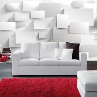telones de fondo grandes al por mayor-Al por mayor-Personalizado Moderno 3D Estereoscópico Gran Mural Wallpaper Cuadro Cubo 3D Papel de pared Sala de estar Sofá Dormitorio Telón de fondo Mural Wallpaper