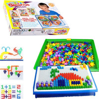 Wholesale Picture Puzzles - DHL New Mosaic Toy Gifts 296 pcs Creative Peg Puzzle Toys DIY Children Nail Composite Picture Creative Mosaic Mushroom Nail Kit Puzzle Toys
