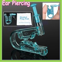 Wholesale Disposable Sterile Ear Piercing - 20pcs Women No Pain Ear Piercing Kit Disposable Safe Sterile Body Piercing Gun+Stainless Steel Stud+Alcohol Prep Pad Wholesale