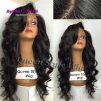 insan vücudu dalgası dolu peruk toptan satış-İşlenmemiş 8A Brezilyalı Saç Dantel Ön / Tam Dantel Virgin İnsan Saç Peruk 130% Yoğunluk Uzun Vücut Dalga Tutkalsız Dantel Kadınlar için Peruk