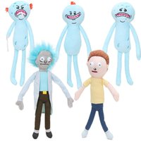 Wholesale Kids Soft Doll - 5styles 5pcs 24-30cm Rick and Morty Happy Sad Foamy Meeseeks Plush Toys Soft Stuffed Animal Dolls For Kids Gift juguetes de peluche bebe