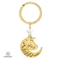 Wholesale Key Rings For Beads - White bead key rings gold plated I love you dad letter keychains fashion accessories gift for father day