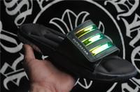 Wholesale Blue Rainbow Sandals - The 2017 new Free Shipping Superstar 3G Laser Rainbow Summer Fashion Sport Slippers Men Women Soft Beach Sandal Flip Flops Size 36-45