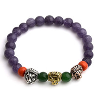 Wholesale Crystal Buddha Head - 2017 Leopard Tiger Eye Lion Head Bracelet Buddha beads Bracelets Bangles Charm Natural Stone Yoga Balance Jewelry Men Women 6