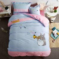 Wholesale Totoro Comforter Set - 4pcs totoro embroider print bedding set boys girls bedclothes kids bed linen cartoon duvet cover set bed sheet queen twin size
