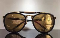 or de mercure achat en gros de-Hommes designer Mercury titane or Sonnenbrille lunettes de soleil or Mirrored Brand New with Box