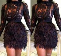 celebridad mini vestidos de plumas al por mayor-Diseño Moda Navidad Vestidos de cóctel de plumas negro Celebrity vestidos de noche Mini mangas largas Vestido de fiesta corto Vestidos 2017