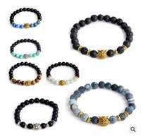 Wholesale Tiger Head Charms - 110 styles 8MM chakra Tiger Eye Lion Head Bracelet Owl Buddha beads Bracelets Bangles Charm Natural Stone Bracelet yoga Jewelry