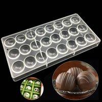 ingrosso stampi in plastica rotonda-Regali di caramelle di San Valentino rotondi stampi di caramelle palla, muffa di cioccolato cupola di muffa 3D stampi di plastica di budino di gelatina che cuociono strumenti di torta