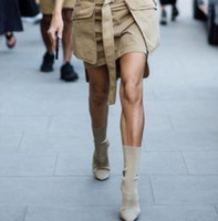 11 cm schuhe großhandel-2016 Army Green Stretch Knit Stiefeletten Frauen Kim Kardashian Blockabsatz Kurze Booties Spitzschuh 11 CM High Heels Schuhe Frau