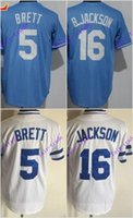 Wholesale Kansas Rugby - kansas city royals #5 george brett #16 bo jackson 2016 MLB Baseball Jersey Cheap Rugby Jerseys Authentic Stitched Free Shipping Size 48-56