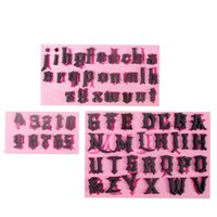 Wholesale Tools For Fondant Letters - 3pcs lot Gothic Capital and Small English Letters and Numbers Fondant Cake Mold Chocolate Mold for the Kitchen Decoration Tool