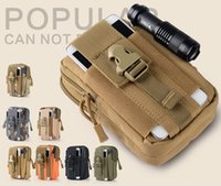 Wholesale Mobile Phone Holster Leather - Universal Canvas Holster For homtom Tactical Military Molle Hip Waist Packs Belt Bag Wallet Pouch Purse Mobile Phone Cases Camping Zipper