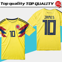 Wholesale colombia shorts - 2018 world cup Colombia soccer Jersey Colombia Home yellow Soccer shirt 2018 world cup #10 JAMES Thai Football uniform size S-4XL