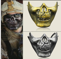 Wholesale Skull Mask For Masquerade - Half face skeleton warriors Halloween masks protective Skull mask of terror Halloween Masquerade CS Games masks