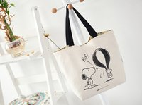 Wholesale Shopping Bags For Vegetable - Wholesale Classic Two-sides Classic Snoopy Cartoon Dogs Canvas Shopping Bag 30*35CM Famous Fashion For Women Handbag Bag Christmas Gifts