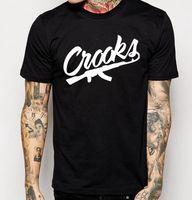 Wholesale Men Crooks T Shirt - Size S-3XL Crooks And Castles T Shirts Men Short Sleeve Cotton Man T-Shirt CROOKS Letter Mens t shirt Tops Tee Shirt Free Shipping