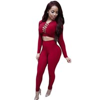 Wholesale Sexy Crosses Jumpsuits - Autumn Elegant Women Rompers Jumpsuit Winter Fleece Two Pieces Outfits Bodysuit Long Sleeve Lace Up Sexy Club Bodycon Playsuit