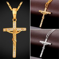 U7 Cross Crucifix Pendentif Collier Christ Jesus Femmes / Hommes Religion Cubic Zirconia Gold / Platinum Plaated Link Chain Perfect Gift Accessories