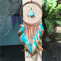 Wholesale Turquoise Home - 2017 New Indian Turquoise Dreamcatcher Vintage Enchanted Forest Handmade Dream Catcher Net With Feathers Decoration Ornament