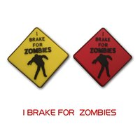 Wholesale Zombie Patches - I BRAKE FOR ZOMBIES Rubber 3D PVC Badge Morale Patch Red Yellow PVC Badge USA Outdoor Camping Tactical Patch Army Badge