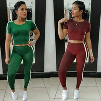 Wholesale Ladies S Outfits - Women Autumn Casual 2 Pieces Outfits Suit Long Sleeved Crop Top+Ankle Long Pant Ladies Fall Sweatsuits Set Tracksuits