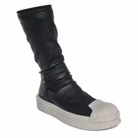 Wholesale 17SS Top Quality genuine leather knee high owen mastodon stretch boots rock high street sheepskin sock boots