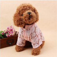 Wholesale Wholesale Female Weave - Dog dog clothes pet dog spring and summer thin clothes print plain weaving hollow bottoming shirt pet clothes