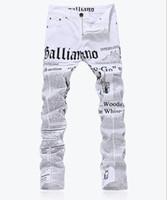 Wholesale print colored paper - Wholesale-MEN JEANS fashion slim fit letters paper print jeans Male plus size casual white denim pants Long trousers LP74