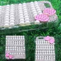 Phone Case for APPLE iphone 4 4S 5 5C 6 6S 7 7plus Diamante de lujo Funda diamante de perla bowknot Bling Rhinestone Coque Carcasa Capa