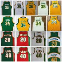 Wholesale Glove S - Throwback Seattle SuperSonics 20 The Glove Gary Payton Jersey 34 Ray Allen 35 Kevin Durant 40 Reign Man Shawn Kemp College Basketball Jersey